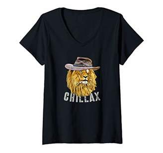 Womens Chillax Lion Funny Badass Lion Cool Casual Relaxed V-Neck T-Shirt