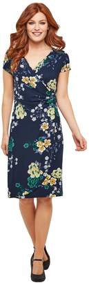Joe Browns Floral Wrapover Midi Dress with Short Sleeves