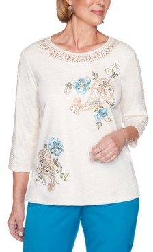 Alfred Dunner Petite Colorado Springs Paisley Floral Embroidered Top
