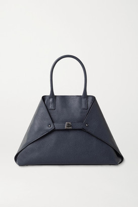 Akris Ai Medium Textured-leather Tote - Navy