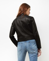 Jaeger Leather Raw Edge Biker Jacket