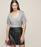 Reiss Ace - Buckle-detail Leather Wrap Skirt in Black, Womens