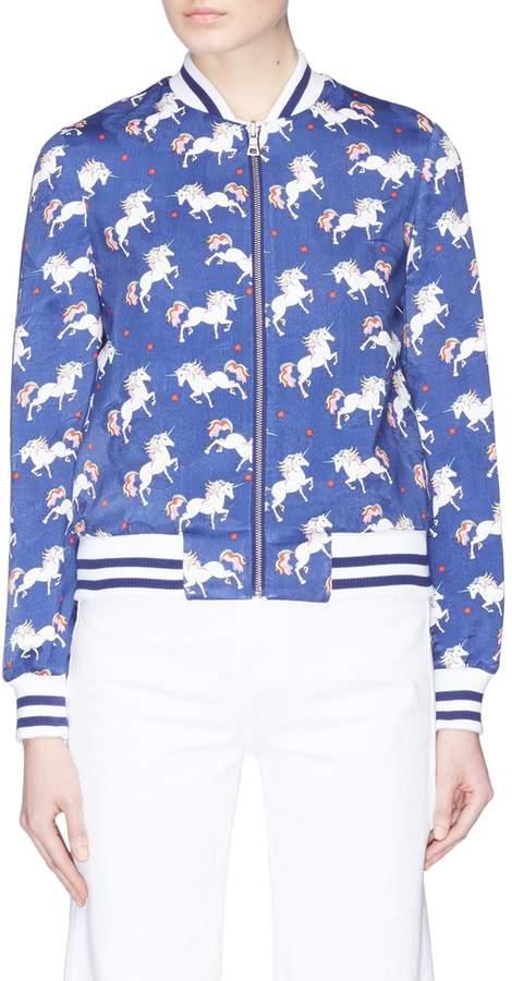 Alice + Olivia 'Lonnie' reversible unicorn print bomber jacket