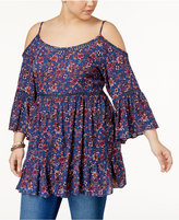 Soprano Trendy Plus Size Cold-Shoulder Top