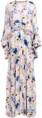 By Ti Mo Ruched Floral-print Crepe Maxi Dress