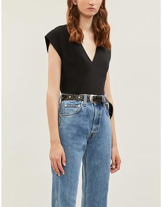 Frame Le High Rise V-neck cotton-jersey T-shirt