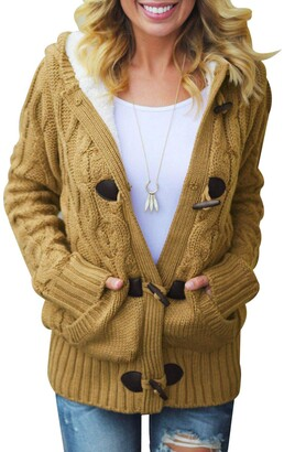 Aleumdr Womens Winter Long Sleeve Hooded Cardigans with Pockets Solid Plus Size Knit Button Jumper Sweater Green XX-Large