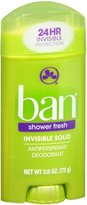 Ban Deodorant 2.6oz Invisible Solid Shower Fresh (6 Pack)