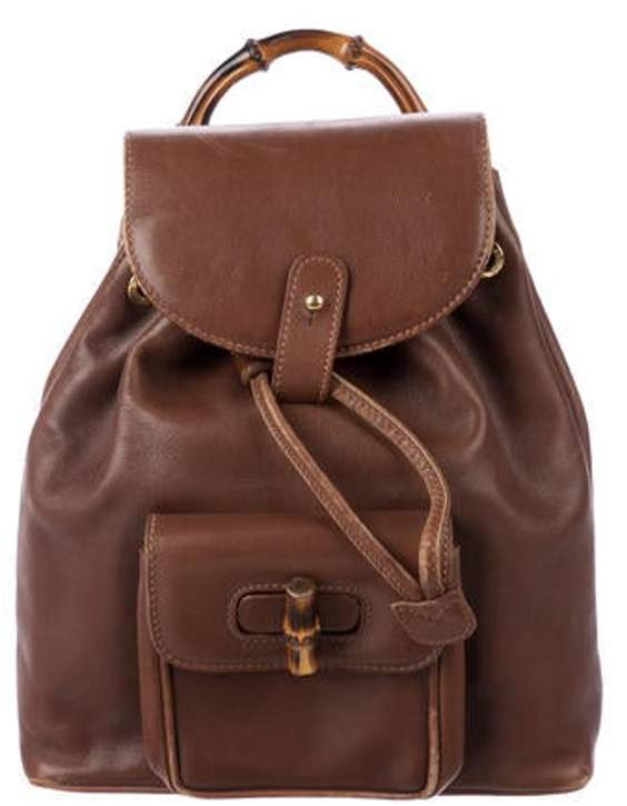 e144b538 Vintage Mini Bamboo Rucksack Backpack Brown Vintage Mini Bamboo Rucksack  Backpack