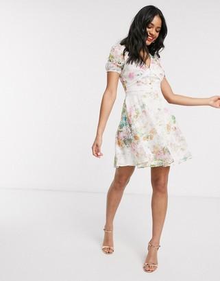 Lipsy chiffon broderie mini skater dress in soft floral print