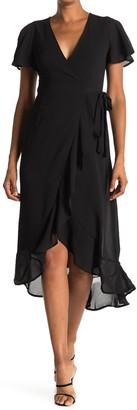 FAVLUX Flutter Sleeve Wrap Midi Dress