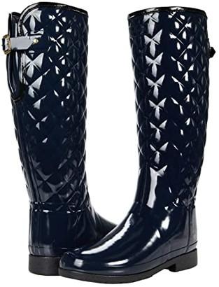 Hunter Refined Gloss Quilt Tall (Navy) Women's Boots