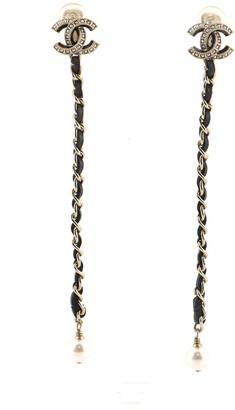 Chanel CC Dangle Chain Clip on Earrings