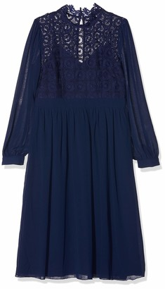 Little Mistress Women's Sacha Crochet Lace Long-Sleeve Midi Dress Party