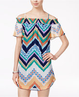City Triangles Juniors' Printed Off-The-Shoulder Chiffon Dress