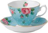 Royal Albert Polka Blue Vintage Teacup and Saucer Set