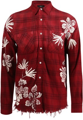 Amiri Bleach Floral Plaid Shirt