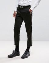 Asos Skinny Crop Suit Trousers In Metallic Gold