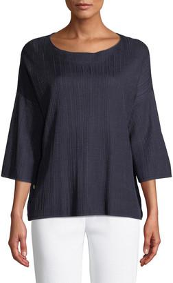Misook 3/4-Sleeve Side-Button Oversized Tunic