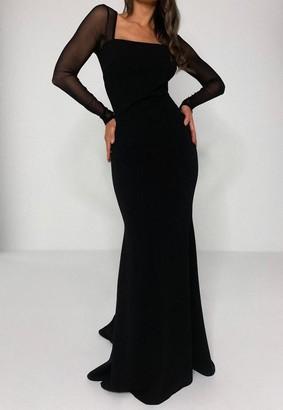 Missguided Black Mesh Sleeve Fishtail Maxi Dress