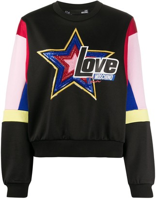 Love Moschino Sequinned-Star Relaxed-Fit Sweatshirt