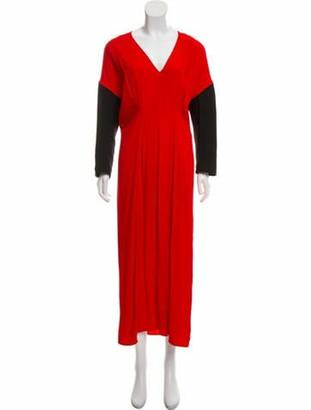 Marni Long Sleeve Maxi Dress Red