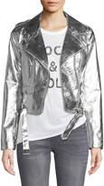 Romeo & Juliet Couture Metallic Faux-Leather Moto Jacket