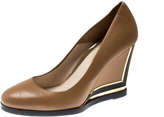 Loriblu Brown Leather Wedge Pumps Size 38