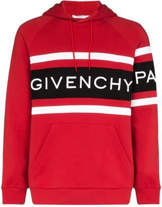 Givenchy logo print striped hoodie