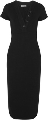 James Perse Button-detailed Ribbed Cotton-blend Jersey Dress
