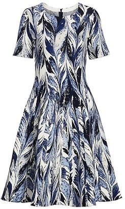 Oscar de la Renta Feather Knit Fit-&-Flare Dress