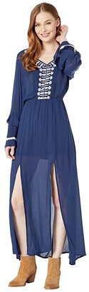 Rock and Roll Cowgirl Long Sleeve Dress D4-3651 (Navy) Women's Clothing
