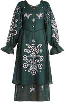 VITA KIN Country bird and floral-embroidered linen dress
