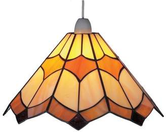 Loxton Lighting 12inch 30cm Stained Glass Bistro Pendant, Brown/Beige