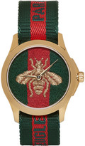 Gucci Gold & Green 'L'Aveugle Par Amour' Bee Watch