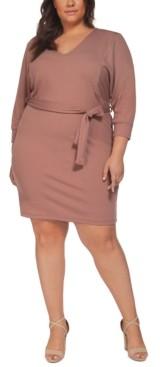 Black Tape Plus Size Dolman-Sleeve Ribbed Belted Dress