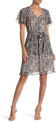 Sharagano Leopard Print Flutter Sleeve Fit & Flare Dress
