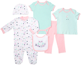 Cutie Pie Baby Aqua & Pink Owl Six-Piece Layette Set