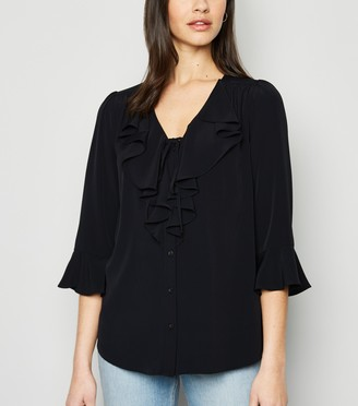 New Look Tie Front Frill Blouse