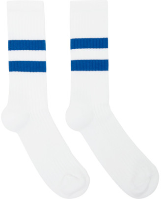 Norse Projects White and Blue Cotton Bjarki Sport Socks