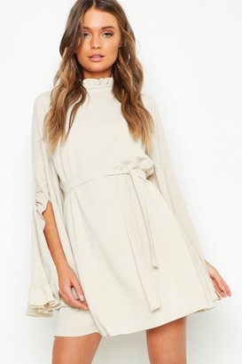 boohoo Boho High Neck Wide Sleeve Shift Dress