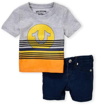 True Religion Infant Boys) Two-Piece Sunset Short Sleeve Tee & Denim Shorts