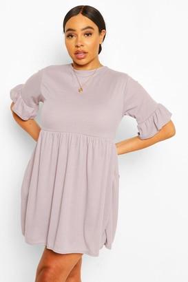 boohoo Plus Soft Rib Ruffle Smock Dress