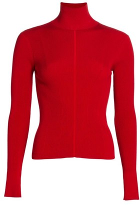 Oscar de la Renta Stretch-Silk Ribbed Turtleneck Sweater