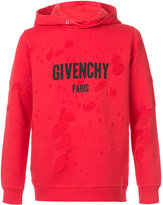 Givenchy distressed logo print hoodie
