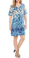 Sigrid Olsen Signature Silk Border Print Dress