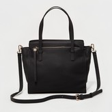 Moda Luxe Women's Faux Leather Tote with Crossbody Strap - Black