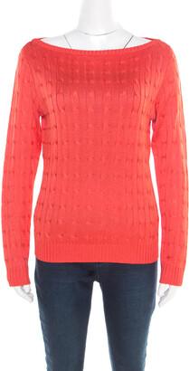 Ralph Lauren Coral Pink Silk Cable Knit Bateau Neck Pullover L