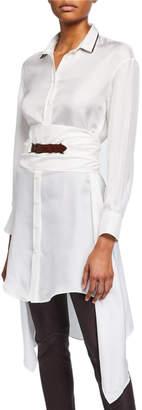 Brunello Cucinelli Silk Long Sleeve Monili Blouse w/ Canvas Belt