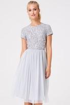 Little Mistress Luxury Elise Grey Hand-Embellished Sequin Midi Dress